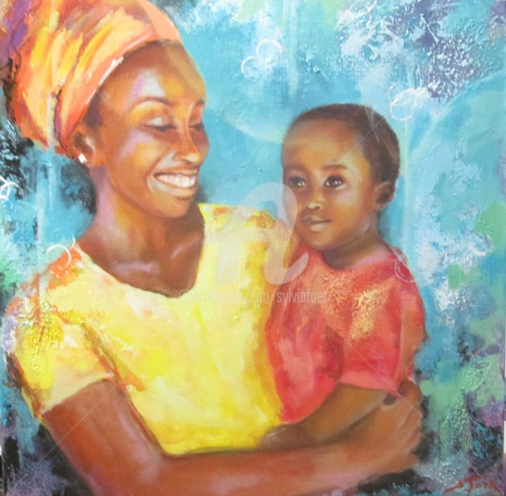 petite-afrique-3-60x60cm.jpg - Painting,  60x60x4 cm ©2017 by SYLVIA FUET -                                                        Figurative Art, Canvas, World Culture
