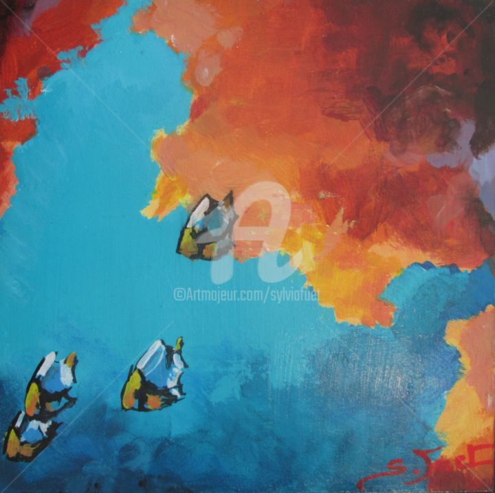 ss-marines-5.jpg - Painting,  20x20 cm ©2017 by SYLVIA FUET -                                        Wood, Fish
