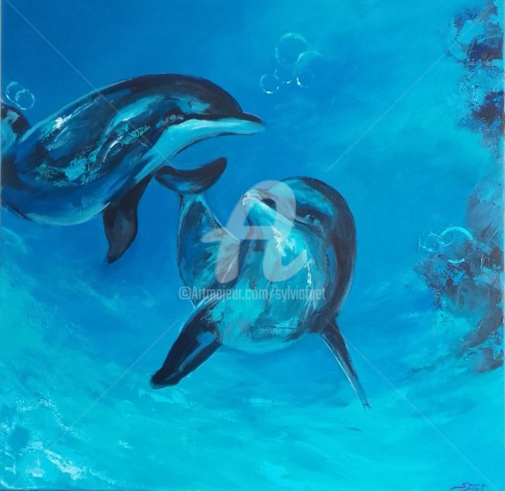 dauphins-80x80x4-cm.jpg - Painting,  31.5x31.5x1.6 in, ©2017 by Sylvia Fuet -                                                                                                                                                                          Figurative, figurative-594, Animals