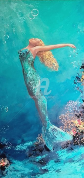 sirene-solo-50x100cm.jpg - Painting,  100x50x2 cm ©2018 by SYLVIA FUET -                                                        Figurative Art, Canvas, Women