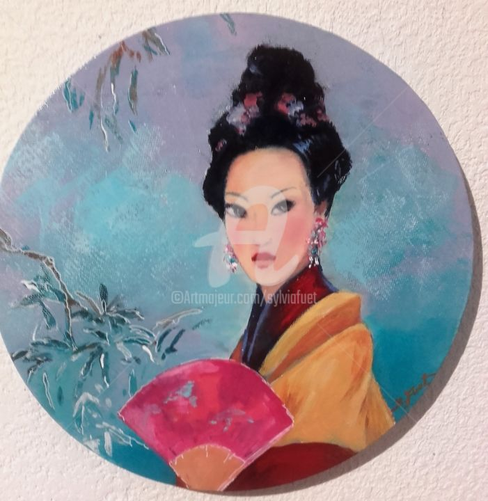 CHINOISERIES I - Painting,  11.8x11.8 in, ©2019 by Sylvia Fuet -                                                                                                                          Figurative, figurative-594