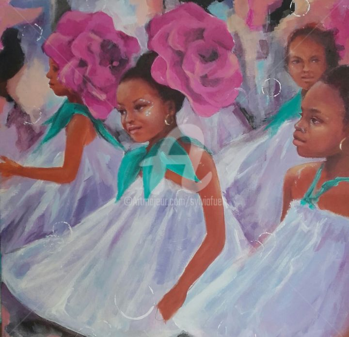 PARADE TI MOUN - Painting,  19.7x19.7x1.2 in, ©2019 by Sylvia Fuet -                                                                                                                                                                          Figurative, figurative-594, World Culture