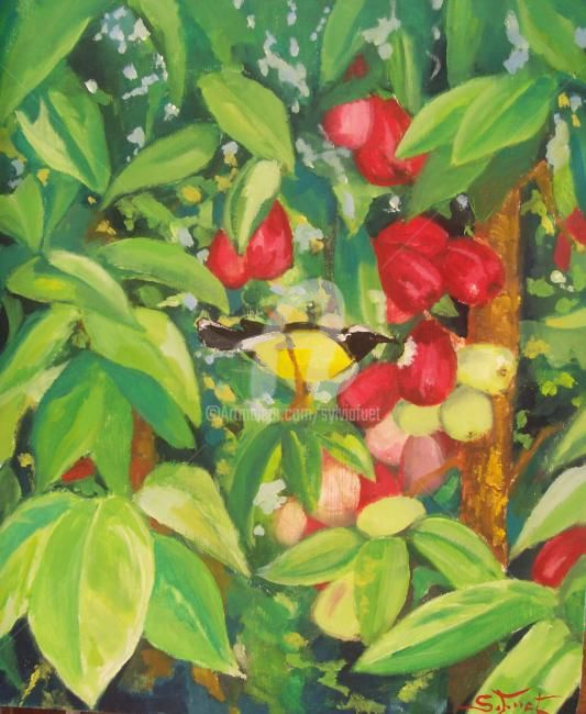 POMMES D EAU - Painting,  15x12.6 in, ©2007 by Sylvia Fuet -