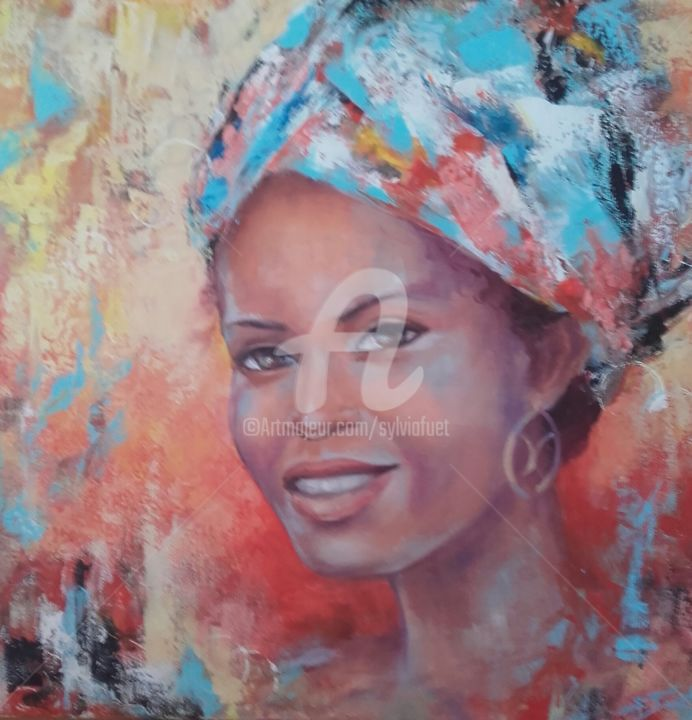 DOUDOU 2 - Painting,  19.7x19.7x1.6 in, ©2019 by Sylvia Fuet -                                                                                                                                                                          Figurative, figurative-594, Women