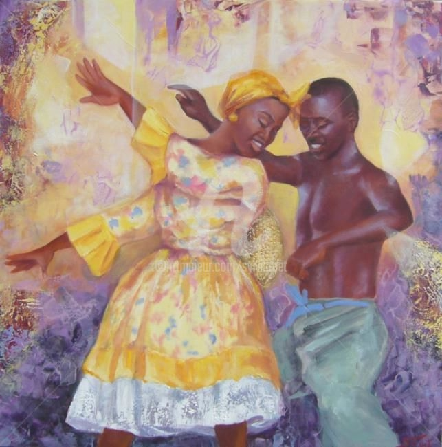 DANSE - Painting,  23.6x23.6 in, ©2009 by Sylvia Fuet -