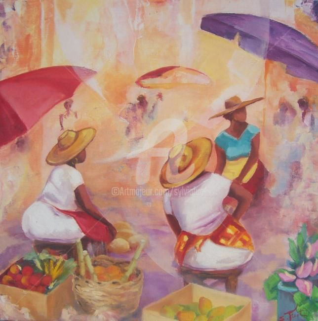 TI MARCHE - Painting,  19.7x19.7 in, ©2009 by Sylvia Fuet -