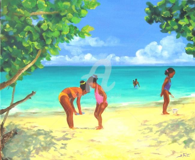 JEU DE PLAGE - Painting,  23.6x28.7 in, ©2009 by Sylvia Fuet -