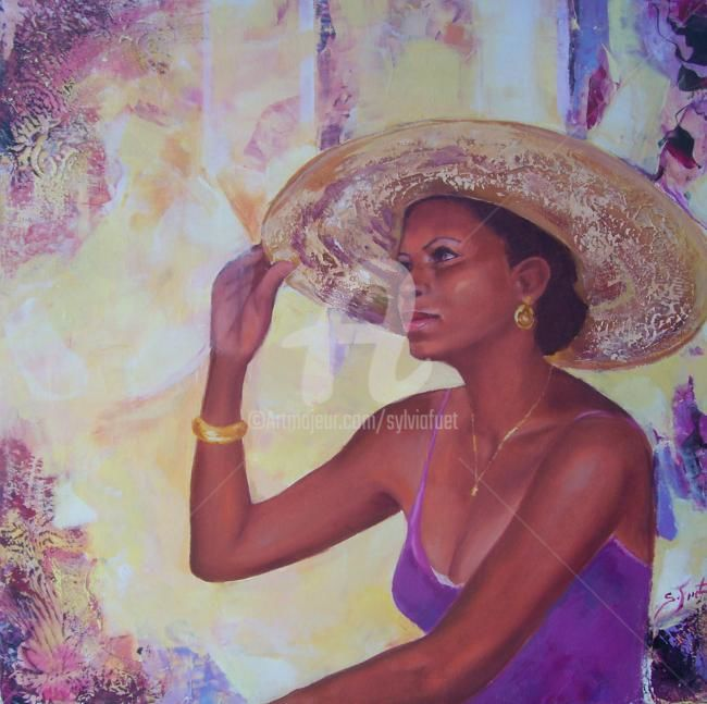 FEMME AU CHAPEAU - Painting,  19.7x19.7 in, ©2012 by Sylvia Fuet -