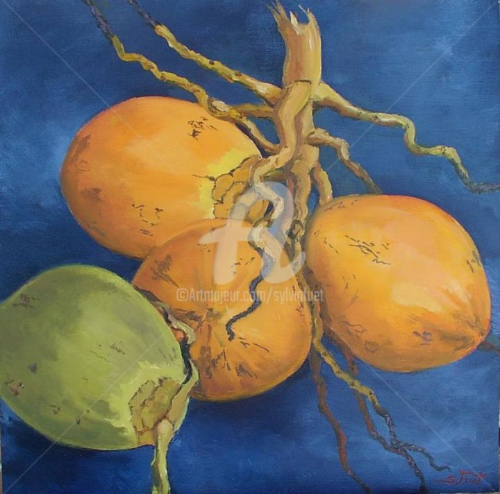 COCOS VII - Painting,  15.8x15.8 in, ©2006 by Sylvia Fuet -