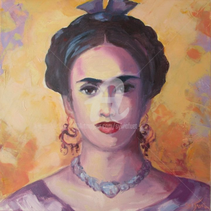 FRIDA - Painting,  11.8x11.8 in, ©2014 by Sylvia Fuet -                                                                                                                                                                          Figurative, figurative-594, Portraits