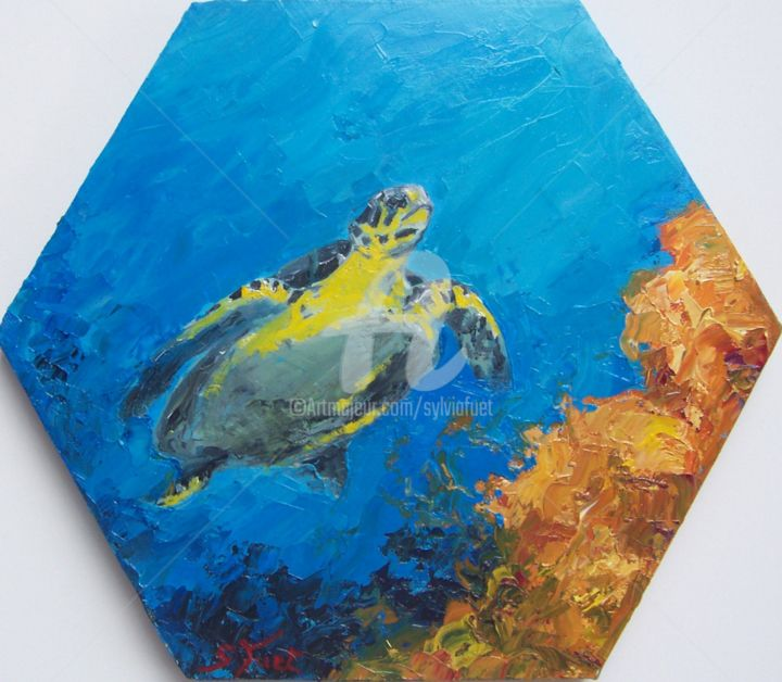 tortue - Painting, ©2014 by SYLVIA FUET -                                                                                                                                                                          Figurative, figurative-594, Seascape