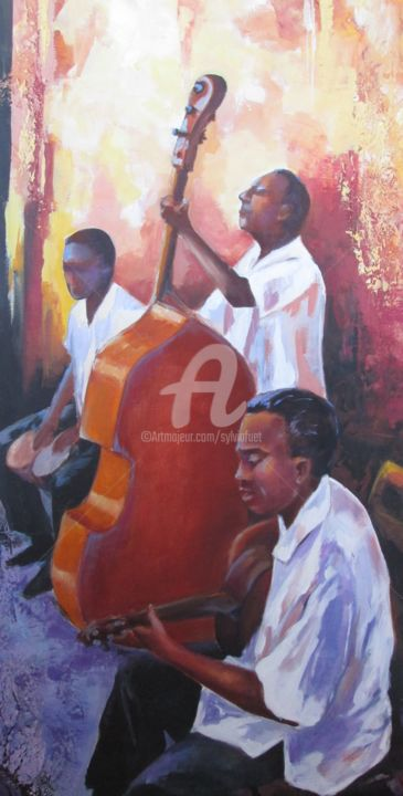 JAZZ - Painting,  31.5x15.8x31.5 in, ©2014 by SYLVIA FUET -                                                                                                                                                                          Figurative, figurative-594, Music