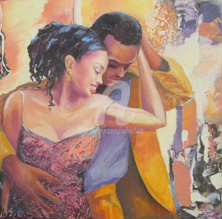 SALSA III - Painting,  19.7x19.7x0.4 in, ©2014 by Sylvia Fuet -