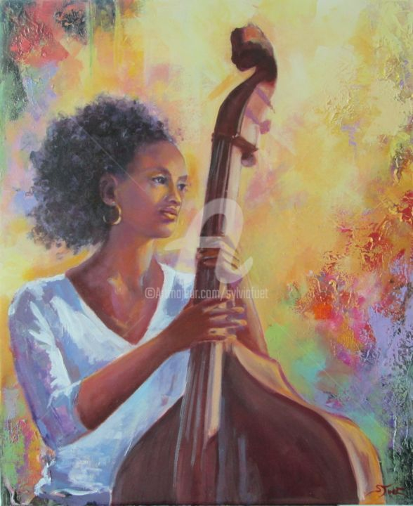 PRIMAVERA - Painting,  24x19.7 in, ©2015 by Sylvia Fuet -                                                                                                                                                                          Figurative, figurative-594, Music