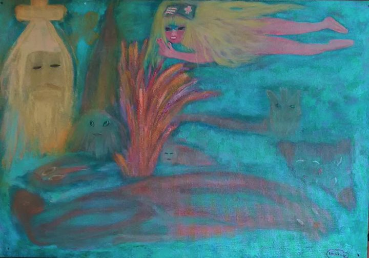 Mission - Painting,  15x21.7 in, ©1997 by Sylviane Dréau (Sylviou) -                                                                                                                                                                                                                          Naive Art, naive-art-948, Angels, couleurs