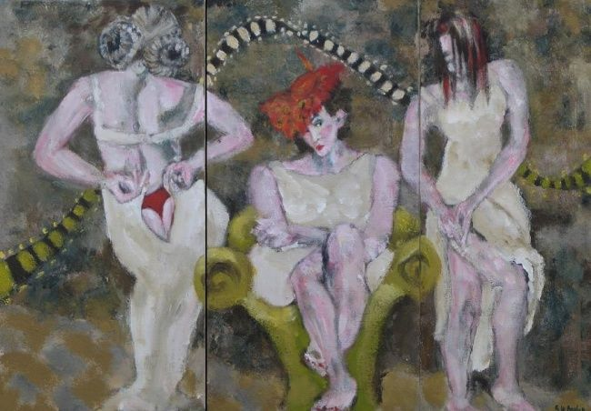 Cinemâ - Painting,  23.6x35.4 in, ©2006 by Sylviane Le Boulch -