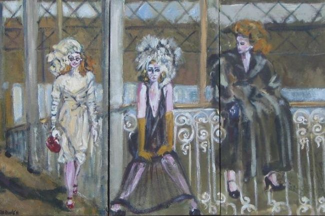 Gare à la gare - Painting,  23.6x35.4 in, ©2007 by Sylviane Le Boulch -