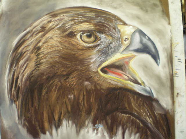 aigle royale - Painting,  27.6x31.5 in, ©2009 by Sylvianne Do -