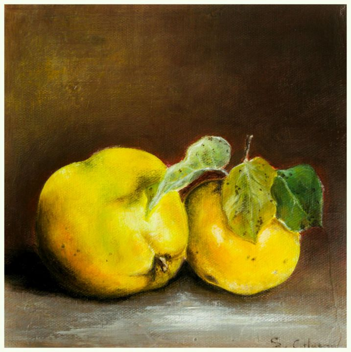 coings sur fond brun - Painting,  7.9x7.9x1.8 in, ©2017 by Sylvie Chacon -                                                                                                                                                      nature morte, coings, nature morte coings