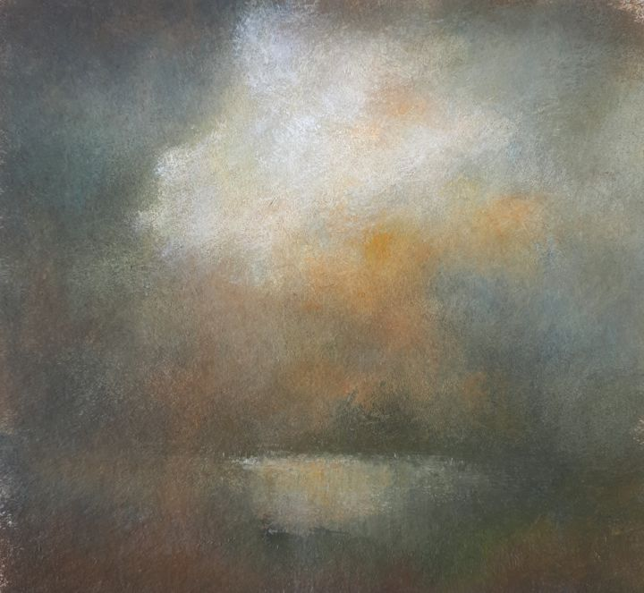 Ciel orageux - Peinture,  4,7x4,7 in, ©2020 par Sylvie Chacon -                                                                                                                                                                                                                                                                                                                  Abstract, abstract-570, Paysage, Nuages, orageux, paysage