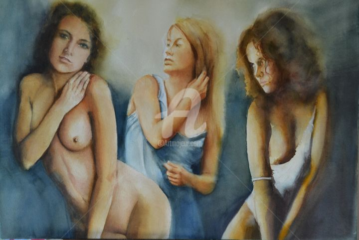 trois-muses.jpg - Painting,  36x51 cm ©2015 by sylvie griselle -