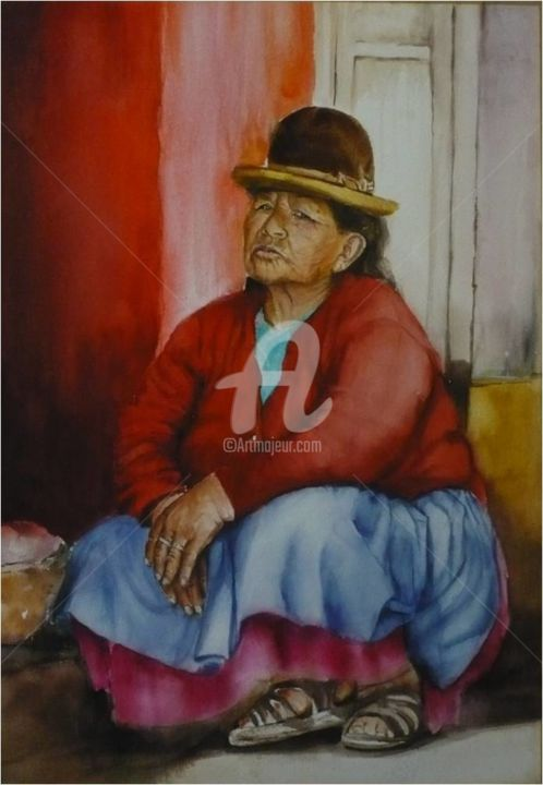 femme-bolivienne.jpg - Painting,  51x36 cm ©2015 by sylvie griselle -
