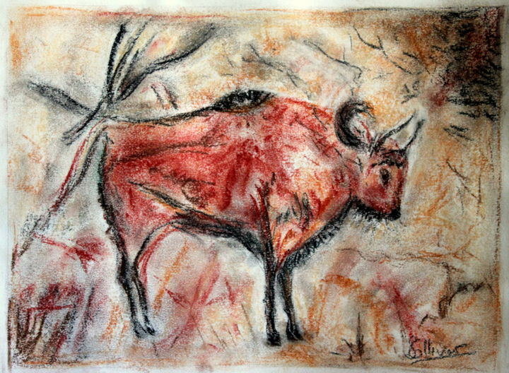 peinture rupestre - Drawing,  9.5x12.6 in, ©2019 by sylvie ollivier -                                                                                                                                                                          Figurative, figurative-594, Animals