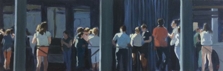 Gare routière - Painting,  11.8x35.4 in, ©2019 by Sylvie Veisseire -                                                                                                                                                                                                                          Figurative, figurative-594, People, personnes
