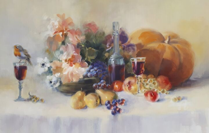 Iris, fruits et rouge gorge - Peinture,  27,6x39,4 in, ©2018 par Sylvie Vernageau -                                                                                                                                                                          Figurative, figurative-594, Nature morte