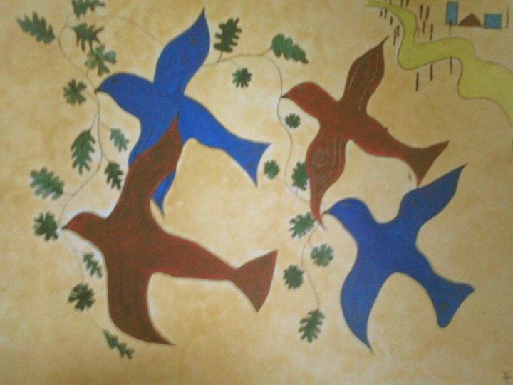 OISEAUX BLEUS - Painting,  15.8x19.7 in, ©1998 by sylvieBF -                                                                                                                                                                                                                                                                                                                  Figurative, figurative-594, Birds, OISEAUX, BLEU, ROUGE