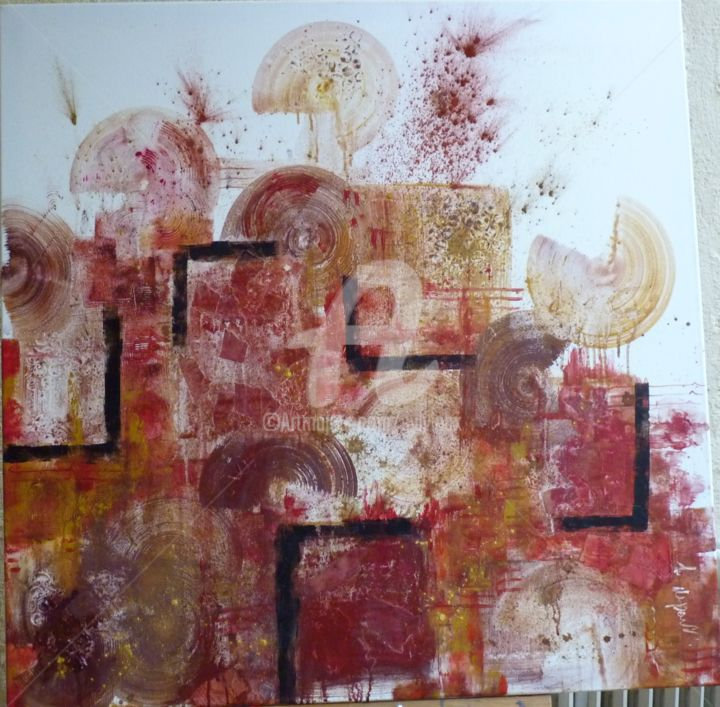 le depart - Painting,  31.5x31.5 in, ©2012 by Sbx -                                                              interprétation