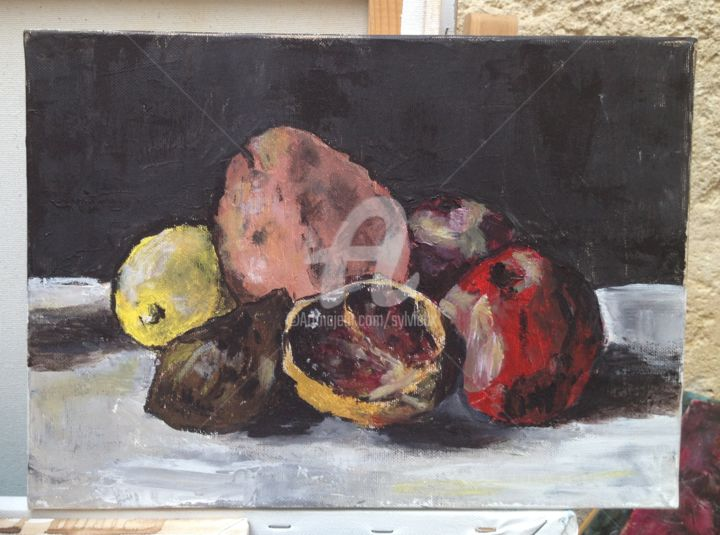 fruits - Painting,  7.9x11.8 in, ©2010 by Sbx -                                                                                                                                                      fruits, acrylique, couteau