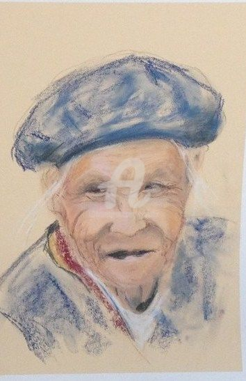 vieille femme 1 - Painting,  15.8x11.8 in, ©2013 by SBx -                                                                                                                                                      portrait, chine, pastel