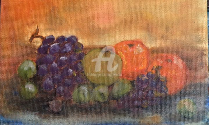 13 September - Painting,  15x10 cm ©2014 by SBx -            Nature morte, daily painting, fruits