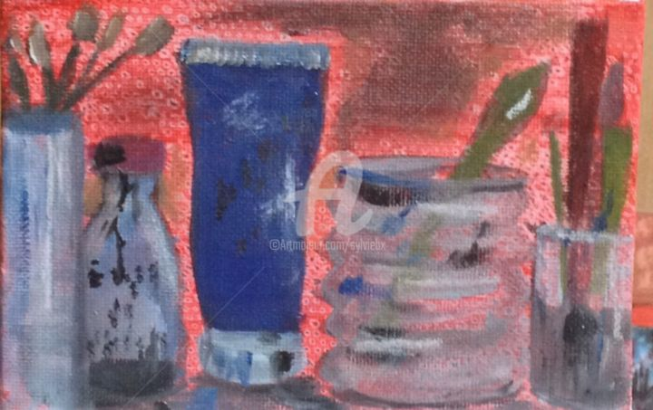 17 septembre - Painting,  3.9x5.9 in, ©2014 by Sbx -                                                                                                          Daily painting. Nature morte, atelier