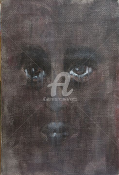 20 septembre - Painting,  5.9x3.9 in, ©2014 by Sbx -                                                                                                                                                                                                  Daily painting, visage, femme, mélancolie