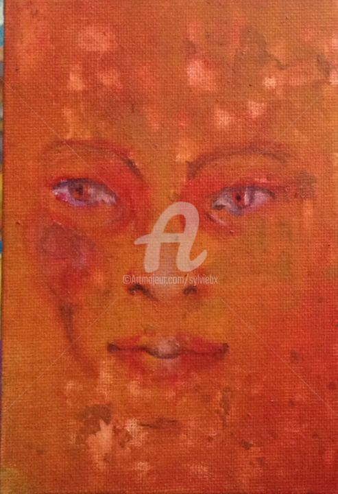 191014 - Painting,  5.9x3.9 in, ©2014 by Sbx -                                                                                                                                                                                                  daily painting, visage, femme, orange