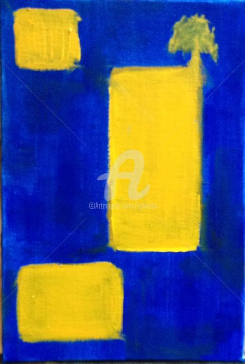 171114 - Painting,  5.9x3.9 in, ©2014 by Sbx -                                                                                                                                                      bleu, jaune, arbre