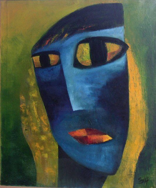 Masque - Painting,  41.7x35.4 in, ©2002 by Sylviehebrard -