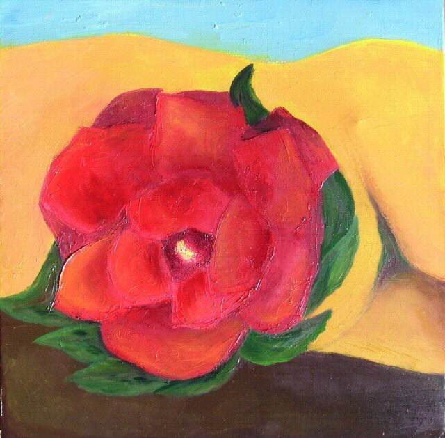 Rose des sables - Painting,  15.8x15.8 in, ©2006 by Sylviehebrard -