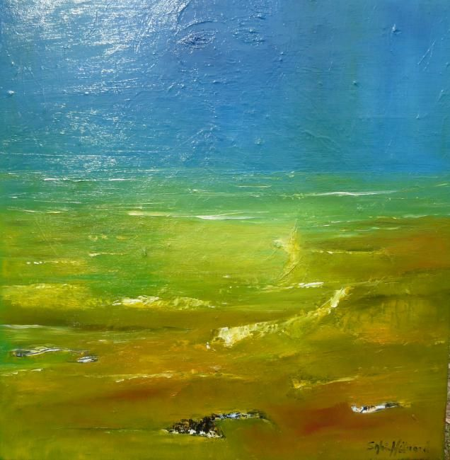 ENTRE CIEL ET TERRE - Painting,  19.7x19.7 in, ©2010 by Sylviehebrard -                                                                                                                                                                                                                          Expressionism, expressionism-591, Seascape, huile sur toile