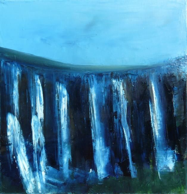 Cascade - Painting,  15.8x15.8 in, ©2011 by Sylviehebrard -