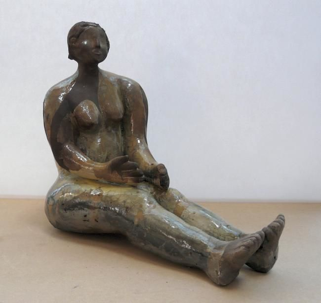 PATIENCE N°2 - Sculpture,  24x28 cm ©2012 by sylviehebrard -                                                            Figurative Art, Ceramic, Body, sculpture, sylvie hébrard, céramique, raku