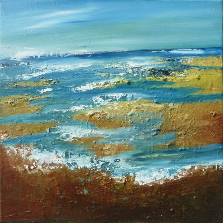 ECUME - Painting,  15.8x15.8x0.4 in, ©2011 by Sylviehebrard -                                                                                                                                                                                                                                              paysage, marine, bord de mer plage, peinture plage, respiration