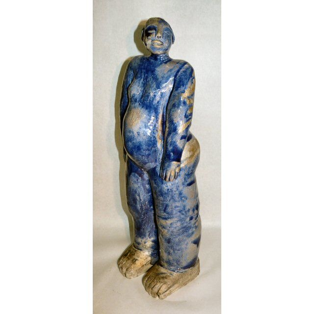 GRANDE BLEUE - Sculpture,  53 cm ©2017 by sylviehebrard -                                                            Figurative Art, Ceramic, Body, raku, ceramique, sculpture