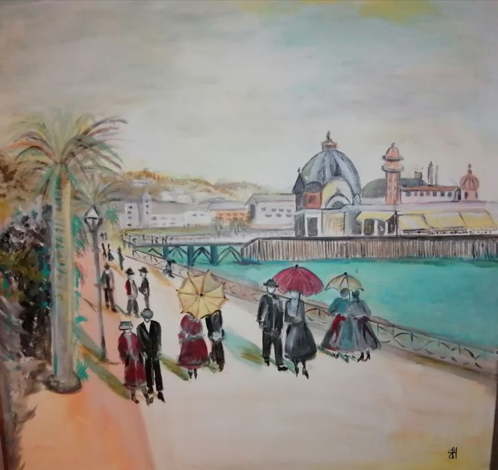 """Painting titled """"Nice 1910"""" by Sylvie Hermen, Original Art, Acrylic Mounted on Stretcher frame"""