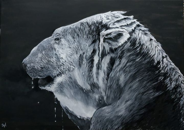 l'ours polaire - Painting,  50x70x1.5 cm ©2019 by sylvie lescan -                                                                                                        Figurative Art, Realism, Environmental Art, Concrete Art, Animals, Nature, Black and White, ours, polaire, extinction, blanc, noir et blanc, bear, polar, banquise, ours blanc, wildlife, animal sauvage, espèce en danger, art animalier, endangered specie