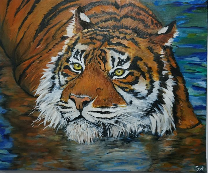 Bain du tigre - Painting,  50x61 cm ©2017 by sylvie lescan -                                            Figurative Art, Animals, tigre, animal, bain, baignade, tiger, sauvage, tigre dans l'eau, wildlife, art animalier, espèce en danger, endangered specie