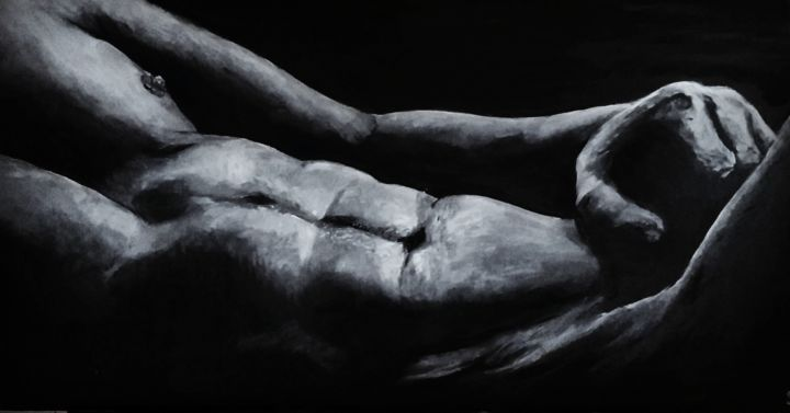 Tranquille - Painting,  15.8x31.5x0.4 in, ©2019 by Sylvie Lescan -                                                                                                                                                                                                                                                                                                                                                                                                                                                                                                                                                                                                                                                                                                                                                                                                                                                                                                              Figurative, figurative-594, Men, Black and White, Erotic, Love / Romance, sensualité, sensuel, sensuality, homme sexy, torse, muscle, hot, nude art, érotique, erotic, low light, clair obscur, homme nu