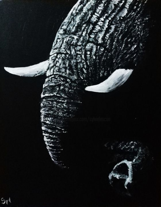 Trompinoscope - Painting,  41x33 cm ©2019 by sylvie lescan -                                                                                Figurative Art, Contemporary painting, Realism, Animals, Black and White, éléphant, savane, afrique, trompe, art animalier, animal sauvage, clair obscur